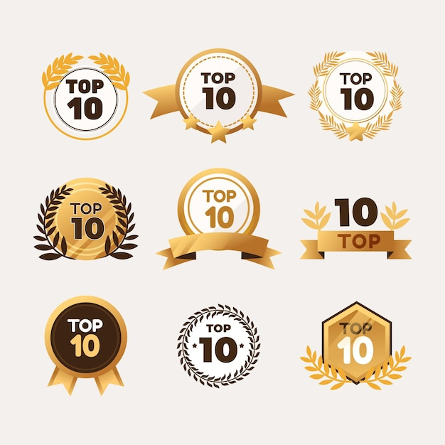 Coleção dos 10 melhores emblemas Vetor grátis