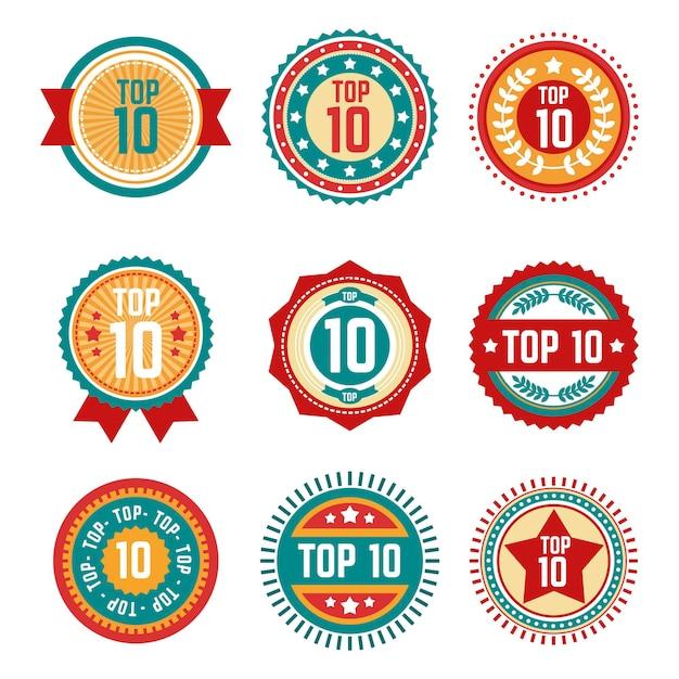 Coleção dos 10 principais rótulos circulares Vetor grátis