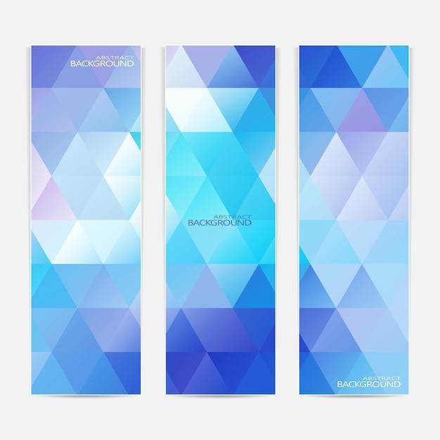 Coleção dos 3 banners azuis da web. pode ser usado para seu projeto. Vetor Premium