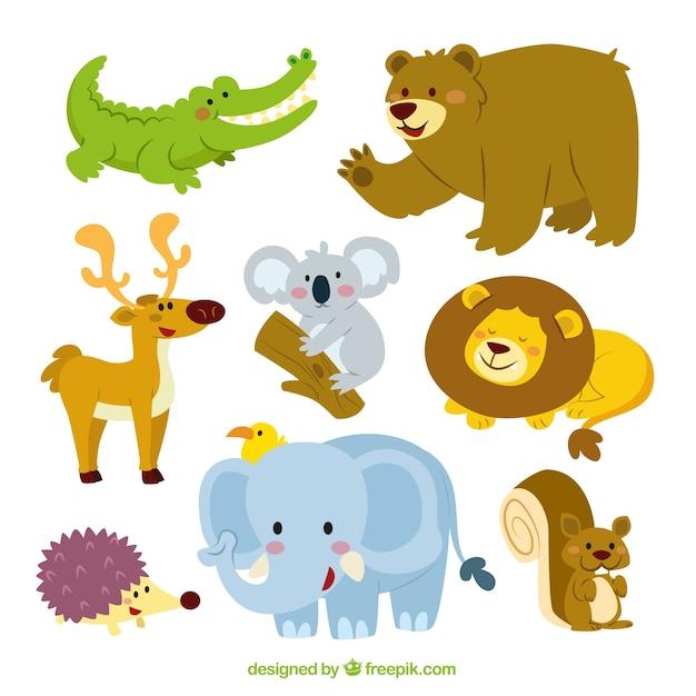 Coleção dos animais bonitos Vetor grátis