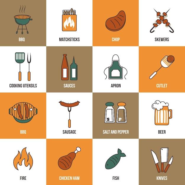 Coleção dos elementos de cozinha Vetor grátis