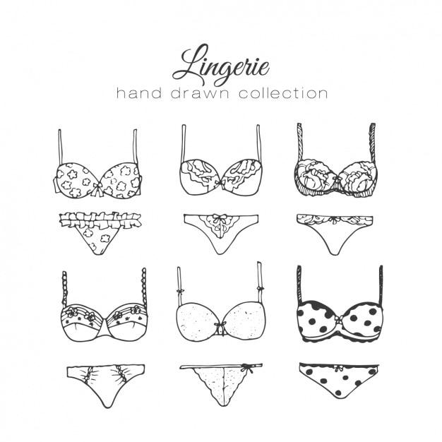 Coleção dos elementos de lingerie feminina Vetor grátis