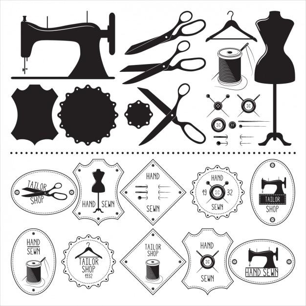 Coleção dos elementos do alfaiate Vetor grátis