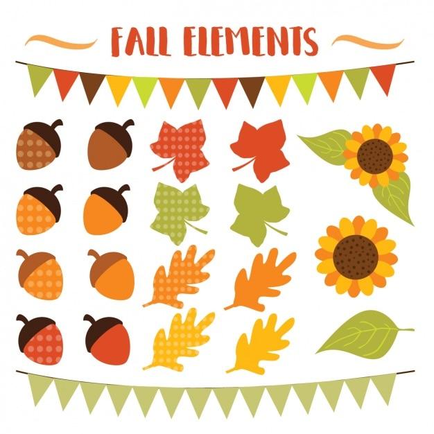 Coleção dos elementos do outono Vetor grátis