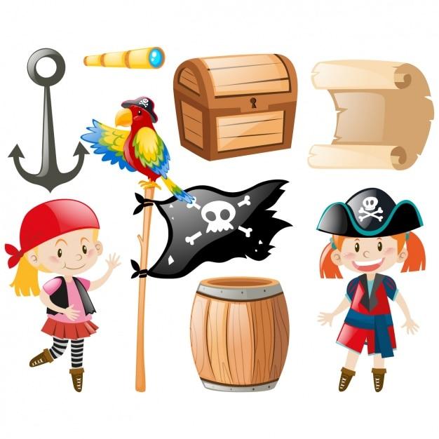 Coleção dos elementos do pirata Vetor grátis