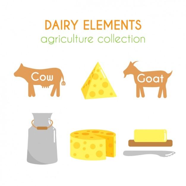 Coleção dos elementos lácteos Vetor grátis
