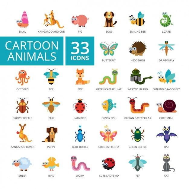 Coleção dos ícones animais Vetor grátis