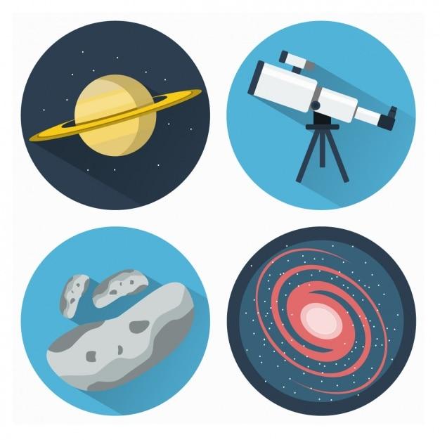 Coleção dos ícones astronomia Vetor grátis