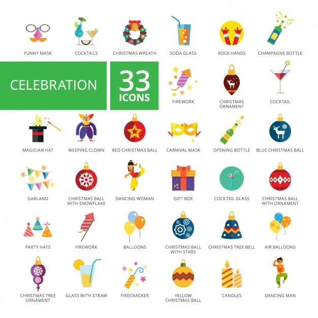Coleção dos ícones da celebração Vetor grátis
