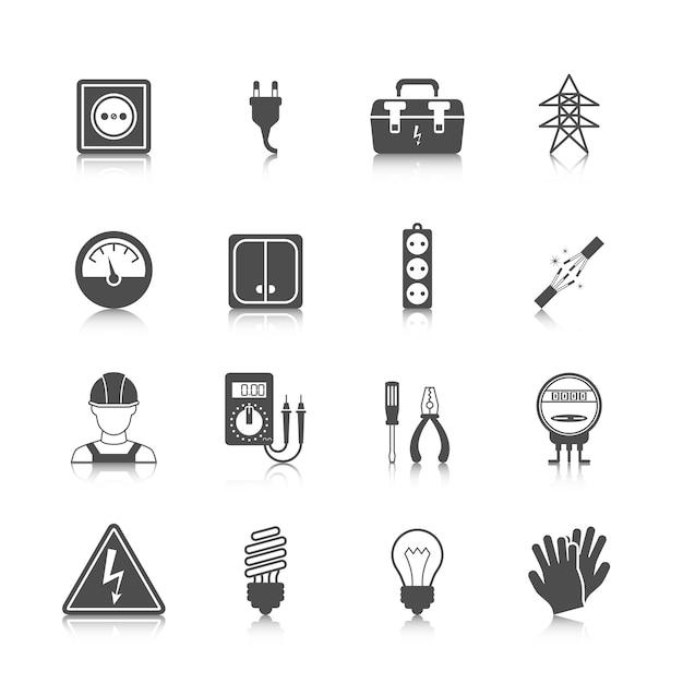 Coleção dos ícones da electricidade Vetor grátis