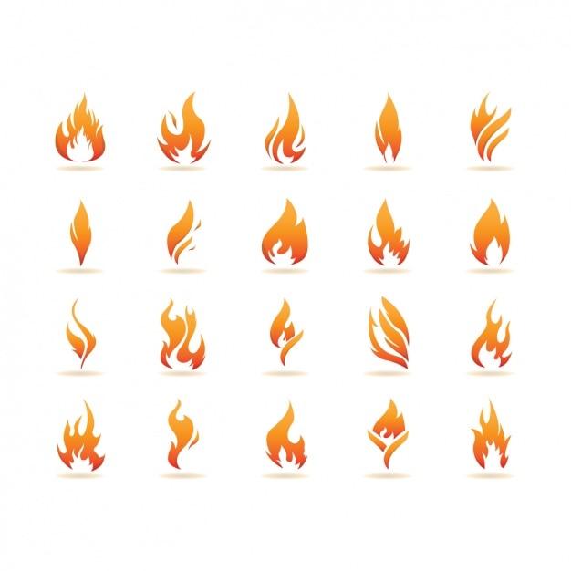 Coleção dos ícones de chamas Vetor grátis