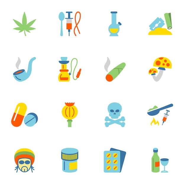 Coleção dos ícones de drogas Vetor grátis