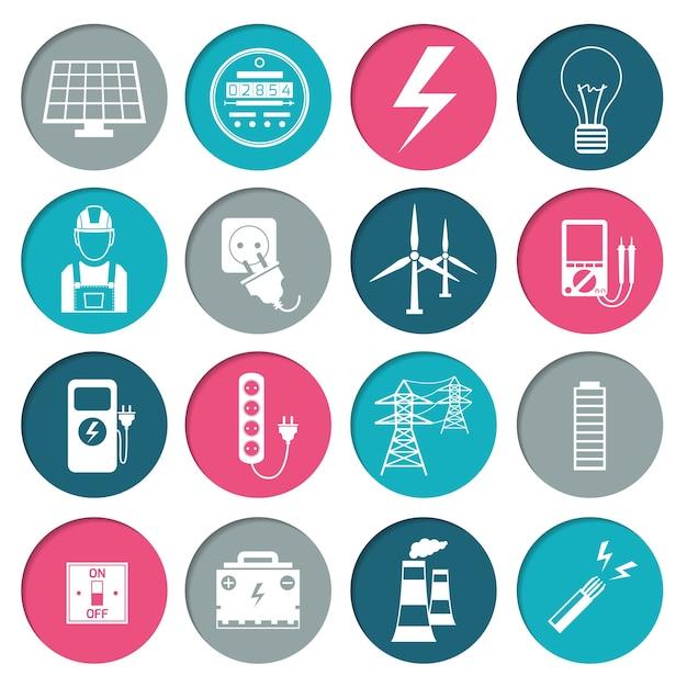 Coleção dos ícones de energia Vetor grátis