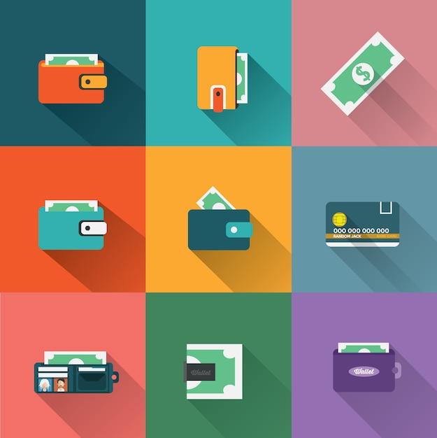 Coleção dos ícones de pagamento Vetor grátis