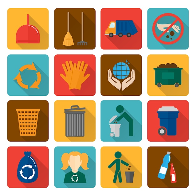 Coleção dos ícones de reciclagem Vetor grátis