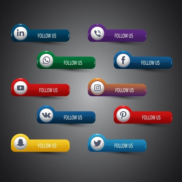 Coleção dos ícones de redes sociais Vetor grátis