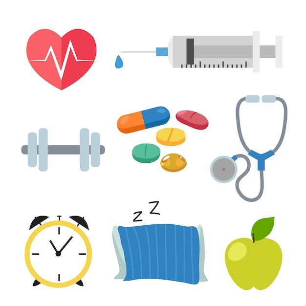 Coleção dos ícones de saúde Vetor grátis