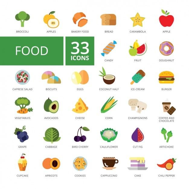 Coleção dos ícones do alimento Vetor grátis