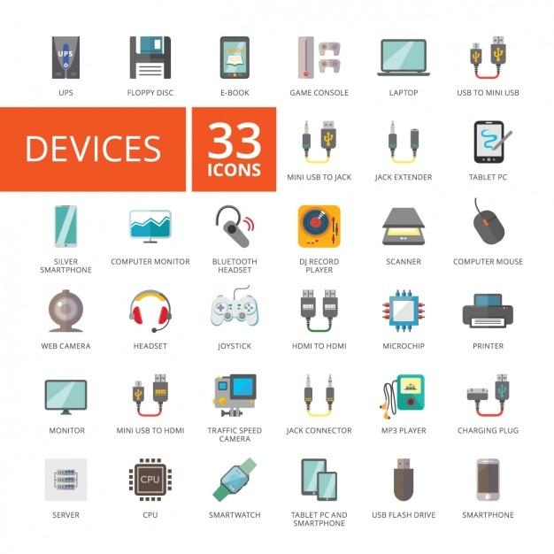 Coleção dos ícones do dispositivo Vetor grátis