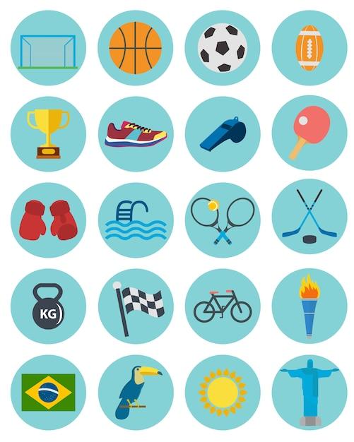 Coleção dos ícones do esporte Vetor grátis