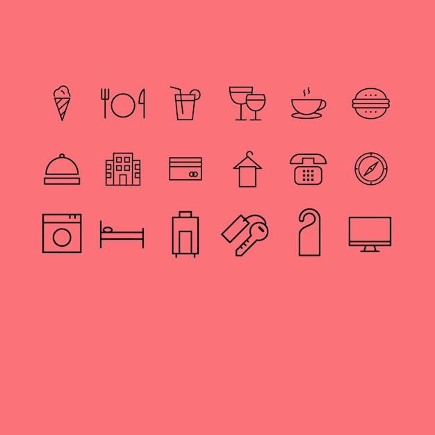 Coleção dos ícones do hotel Vetor grátis