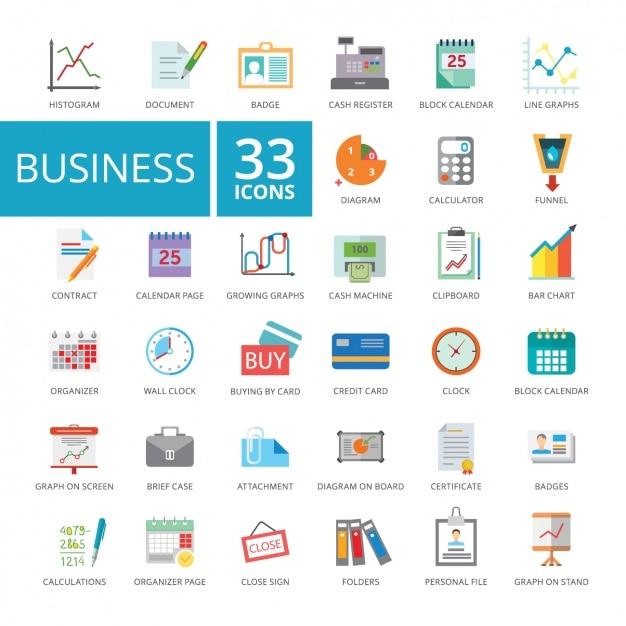 Coleção dos ícones do negócio Vetor grátis