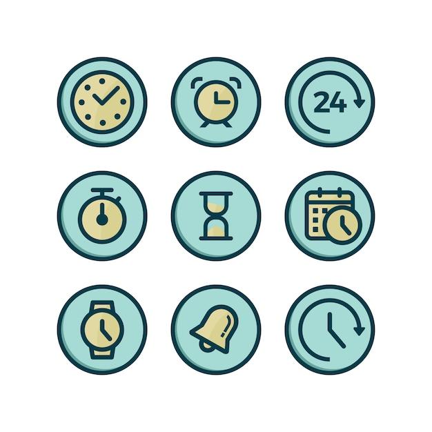 Coleção dos ícones do tempo Vetor grátis