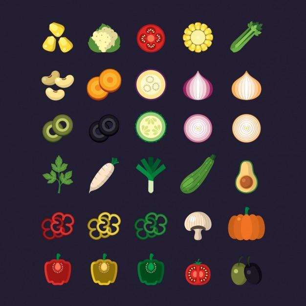 Coleção dos ícones do vegetal Vetor grátis