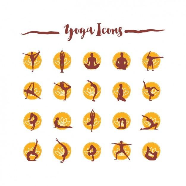 Coleção dos ícones do yoga Vetor grátis