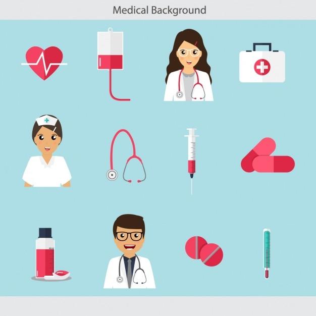 Coleção dos ícones médicos Vetor grátis