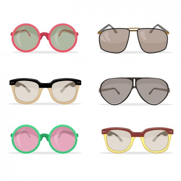 Coleção dos óculos de sol do vintage Vetor grátis