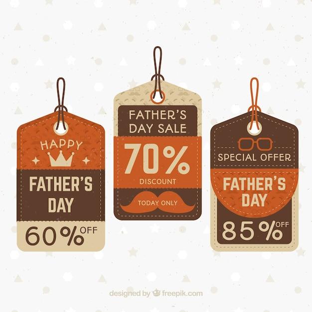 Coleção elegante da etiqueta da venda do dia dos pais Vetor grátis