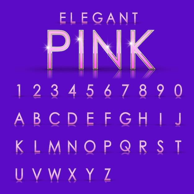 Coleção elegante de letras e números rosa em fundo roxo Vetor Premium