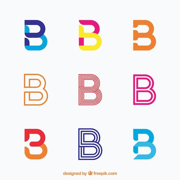 Coleção elegante de logotipo da letra b Vetor Premium