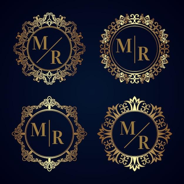 Coleção elegante de monograma de casamento Vetor grátis