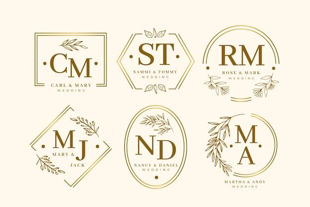 Coleção elegante de monograma de casamento Vetor Premium