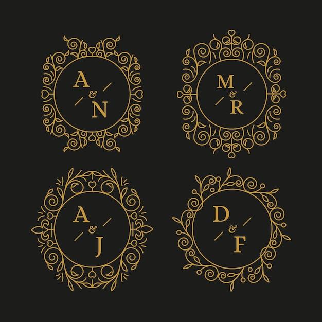 Coleção elegante de monogramas de casamento Vetor grátis