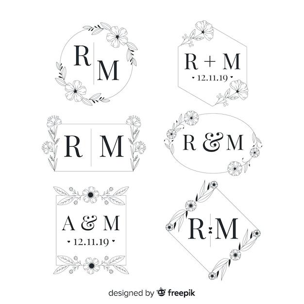 Coleção elegante do logotipo do monograma do casamento Vetor grátis