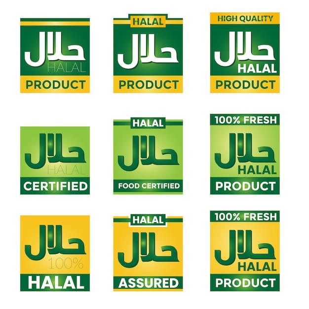 Coleção elegante rótulo halal Vetor Premium