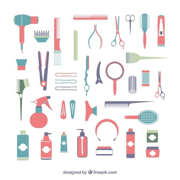 Coleção elemento de cabeleireiro Vetor grátis