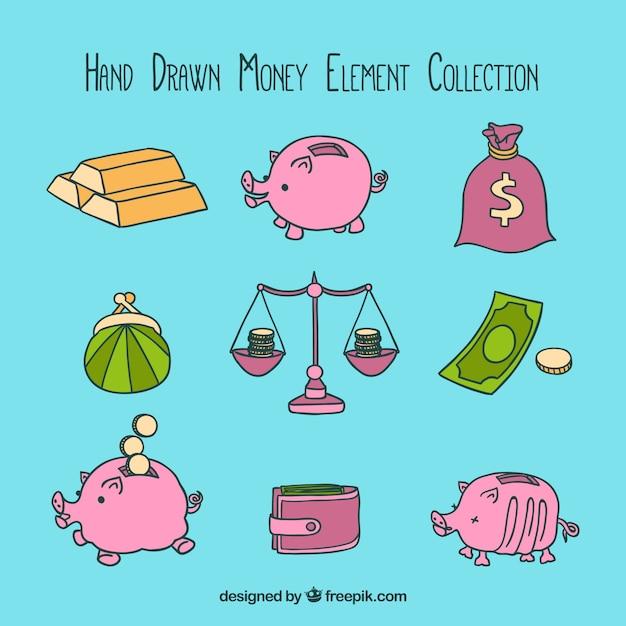 Coleção elemento dinheiro desenhada à mão Vetor grátis