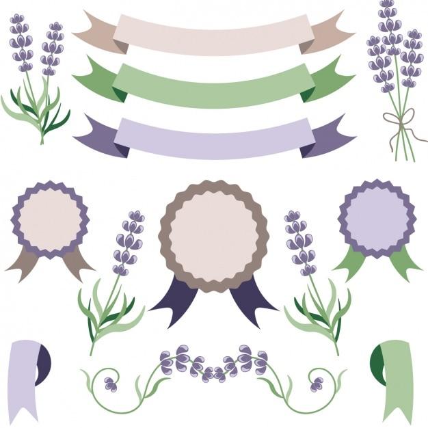 Coleção emblema com lavanda Vetor grátis