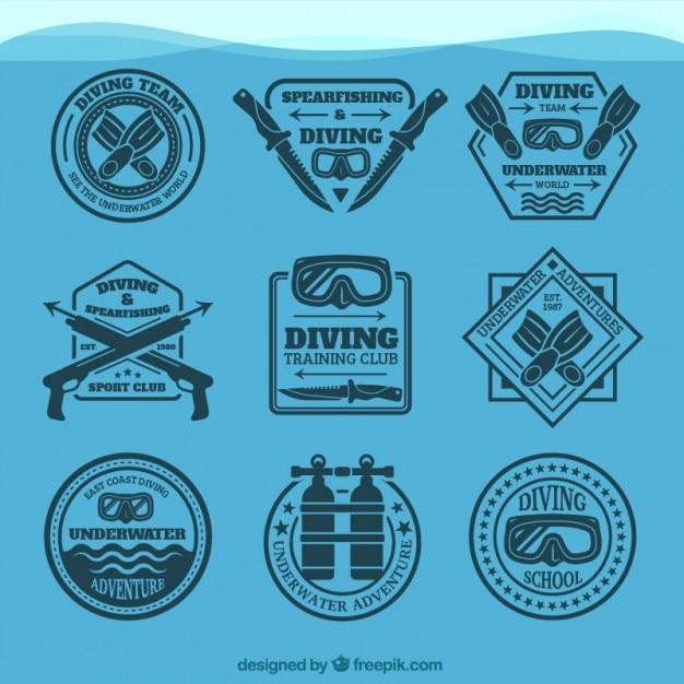 Coleção emblema elegante de mergulho Vetor grátis