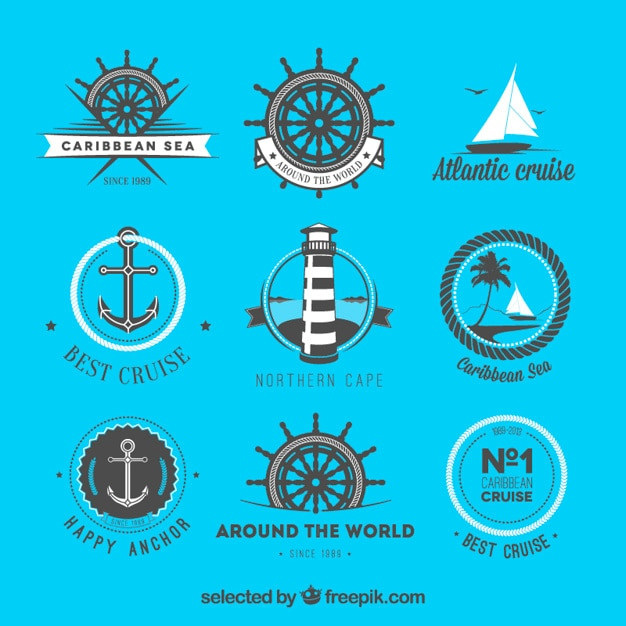 Coleção emblemas náuticas Vetor grátis