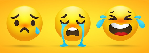 Coleção emoji que mostra emoções, tristeza, choro Vetor Premium
