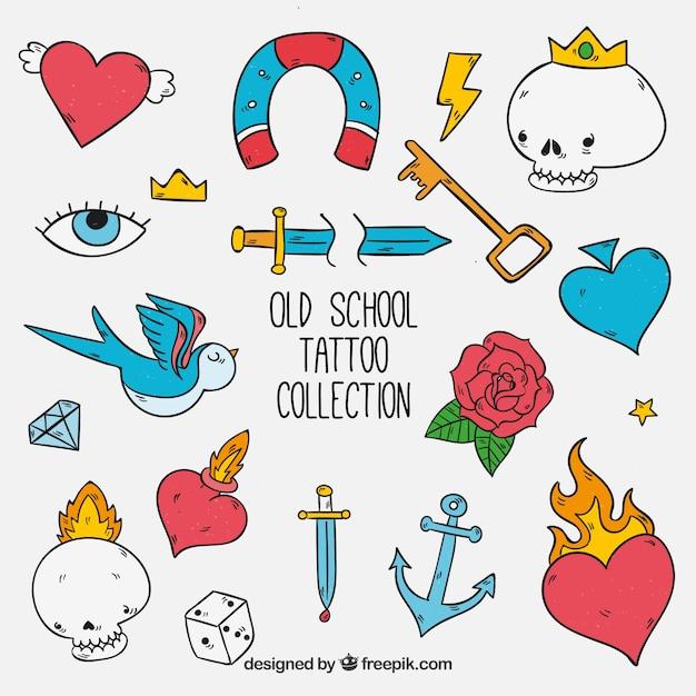 Coleção engraçada da tatuagem da velha escola desenhada a mão Vetor grátis