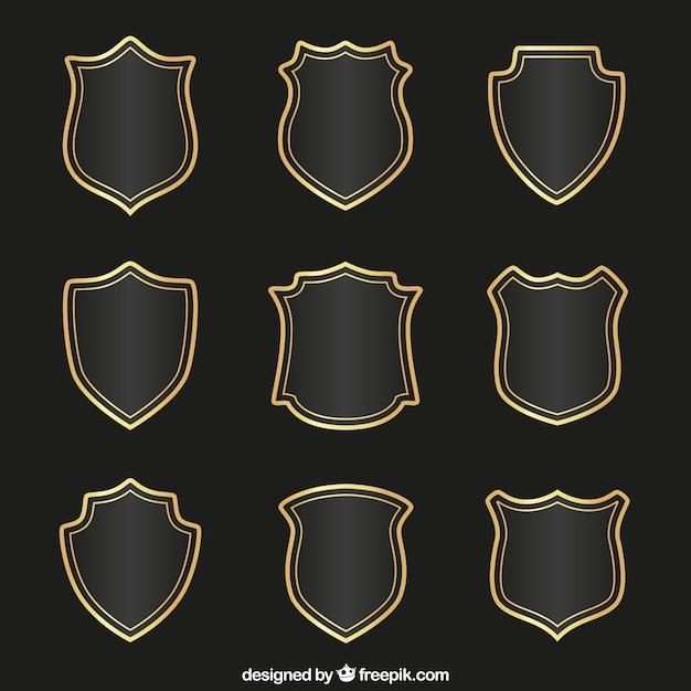 Coleção escudos medievais Vetor Premium