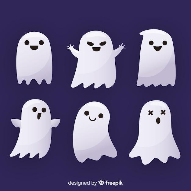 Coleção fantasma de halloween liso Vetor grátis