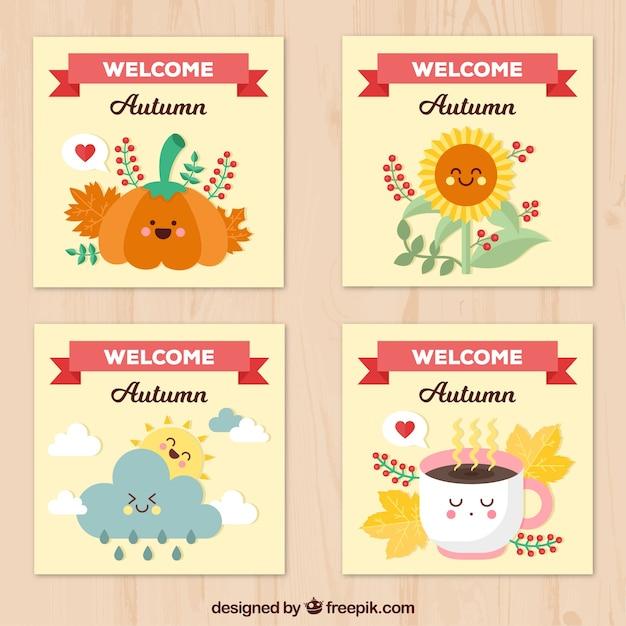 Coleção feliz de cartões de outono Vetor grátis