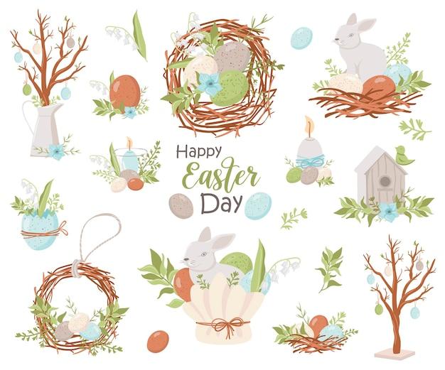 Coleção feliz páscoa. ilustração para cartões e convites de páscoa Vetor Premium